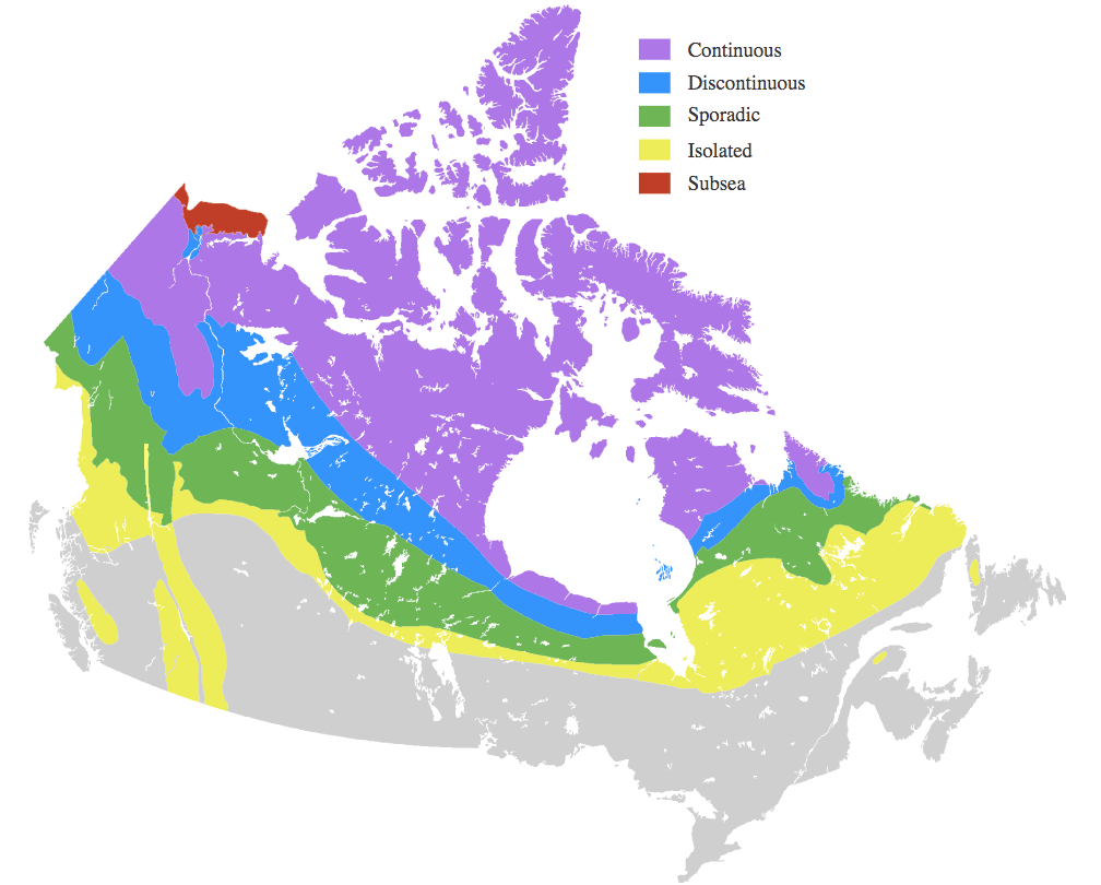 Permafrost Map Canada What is Permafrost   Canadian Permafrost Association